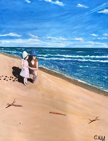 Beach Scene Oil Painting