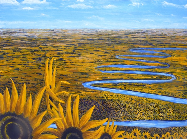 Winding River Thru Sunflowers