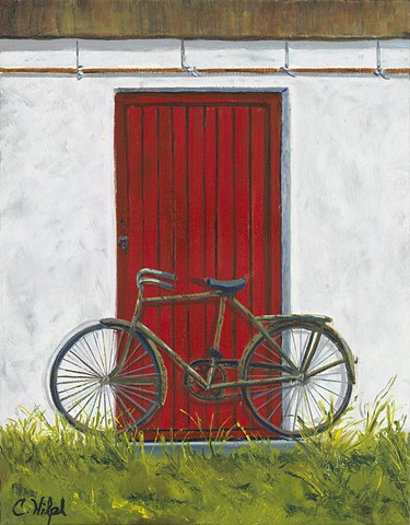 Old Bike in Front of Cottage