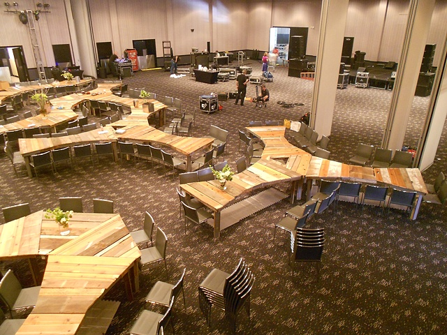 Tables being installed
