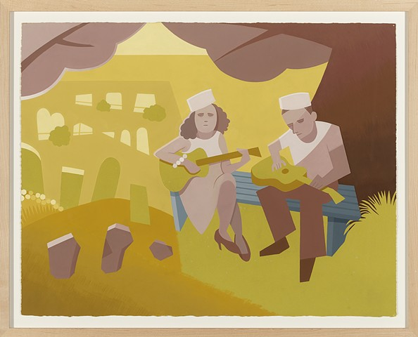 Detail of brown, yellow, and gray diptych painting of World War II era couple in sailor caps playing guitars in a country cemetery by Steven L. Jones
