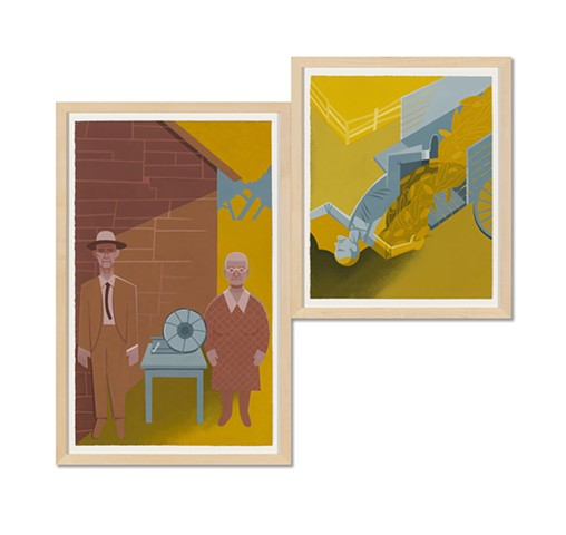 Brown, yellow, and gray diptych painting of elderly rural people posing with victrola and falling off a wagon by Steven L Jones