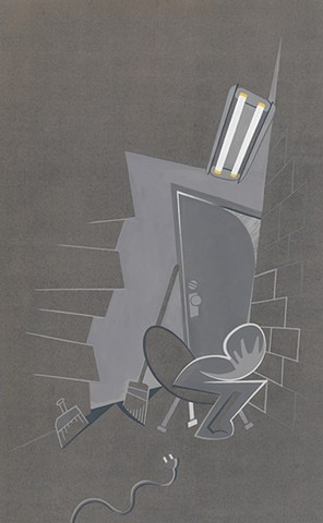 Gray painting of depressed person locked in closet clutching head under incandescent lights by Steven L Jones