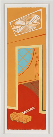 Orange, blue, and red detail of 6-panel painting of suburban home in summer with fan, round window, and toy fire truck by Steven L Jones