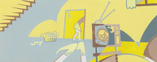 Yellow, gray, and brown painting of boy on sofa in basement watching a monster movie while a woman does laundry by Steven L Jones