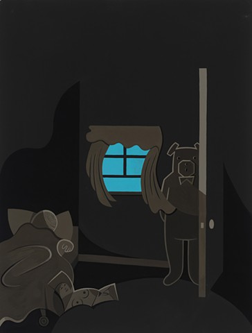 Brown and blue painting of sleeping boy with centerfold on floor and man-size teddy bear behind closet door by Steven L Jones