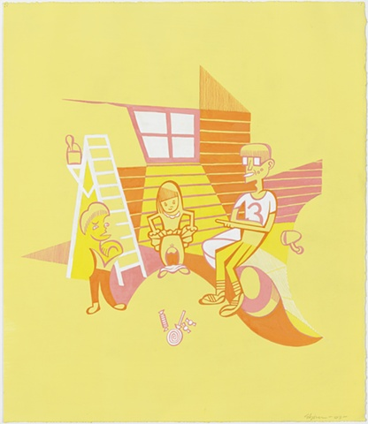 Yellow, pink, orange, and white painting of little girl exposing herself to two boys in exchange for candy in suburban garage with ladder and old car by Steven L Jones