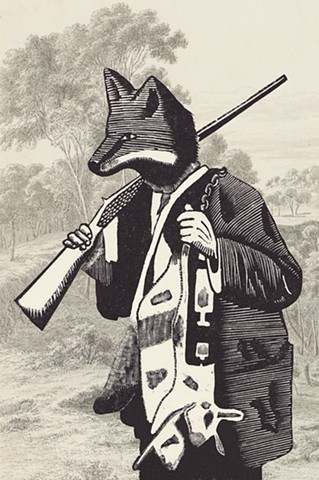 Wood engraving of a trapper with a rabbits head
