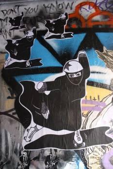 Roller Derby Burqua street art paste-up in Hosier Lane for Citylights Projects Melbourne
