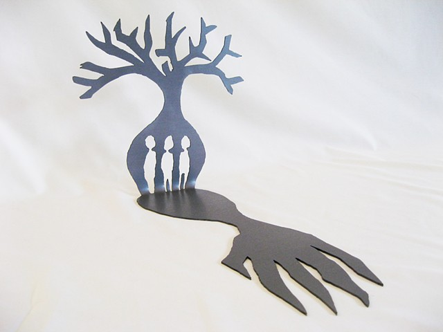 laser cut steel sculpture of boab tree (prison tree) with figures