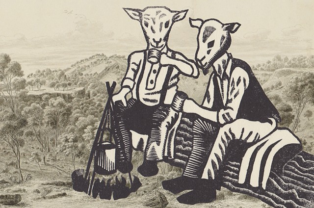 Wood engraving of two labourers with sheep heads drinking tea