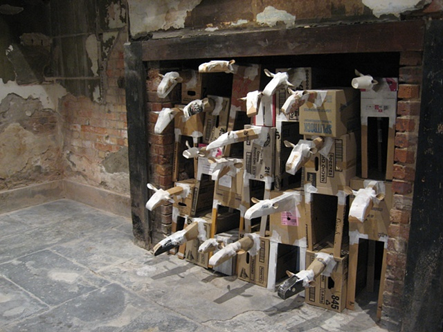 Sheep installed in the kitchen fireplace at Eildon Manor Victoria for the exhibition Enclosure (2009)