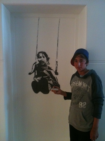 paste up of girl on a swing