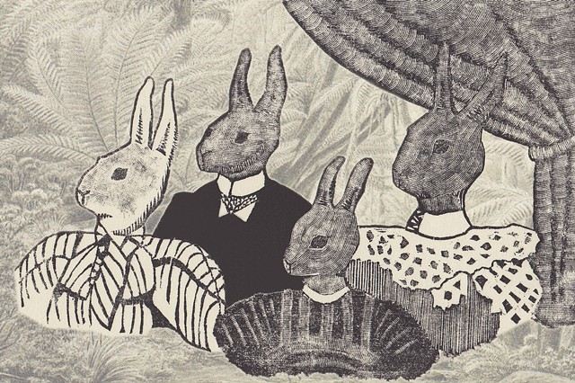 Wood engraving of a classic studio family portrait with rabbit heads