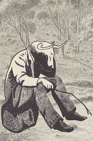 Wood engraving of man with bullocks head