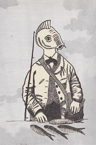 Wood engraving of an angler with a carps head