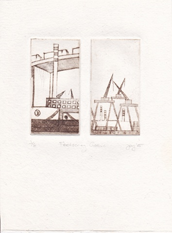 This work is an edition of six and depicts the docks and ship yards of Footscray in Melbourne