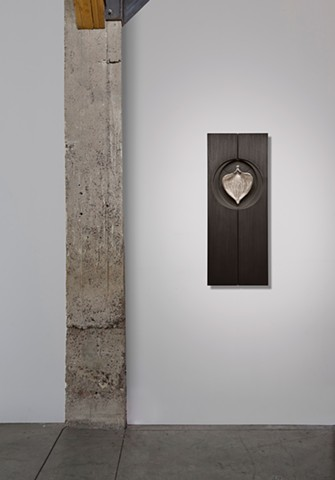 cast aluminum, wood, graphite, sewing needle, wall sculpture, contemporary sculpture, interior design