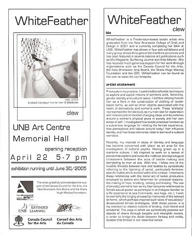 Exhibition invite and artist statement for Clew at the UNB Art Centre, Fredericton.