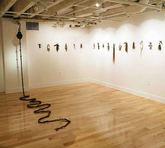Beautiful/Grotesque (solo show) installation shot of Contagion Poppets and Pull Cord (hair rope).