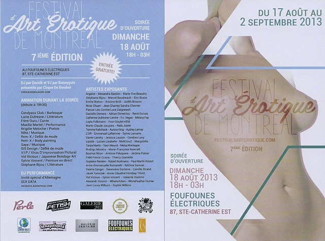 Montreal Erotic Art Festival, invitation