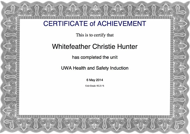 UWA Health and Safety Induction Certification