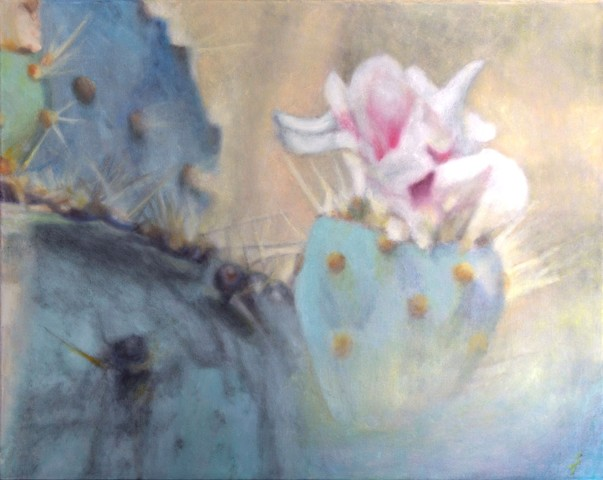 misty nopal cactus with prickly pear fruit (tuna) and cactus flower