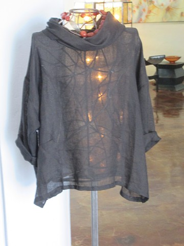 linen blouse  cowl neck  carnelian necklace statement necklace