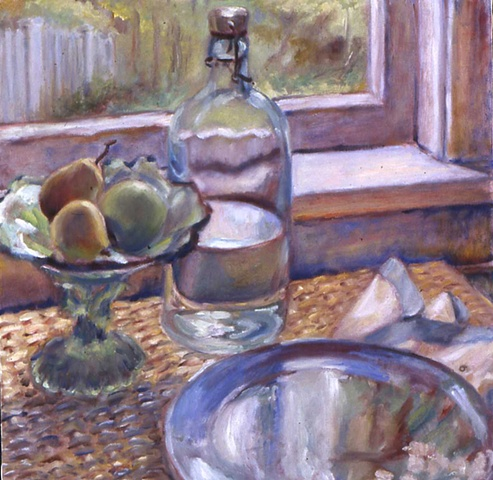 glow on antique compote, fruit, bottle of water and painted plate