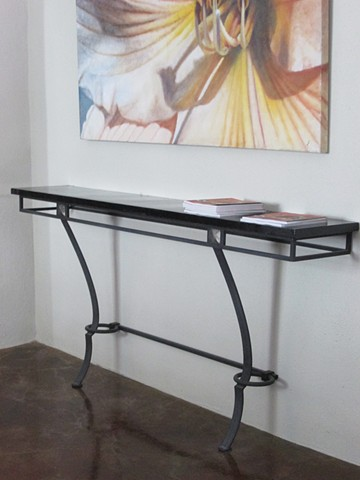 Art deco style metal console table  fastens to wall  custom sizes