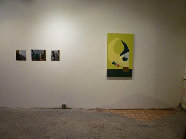 overview: Meghan Cox,  L.H., Oil on panel, 2013, Fawn, Oil on Panel, 2013, Small Me, Oil on linen over panel, 2013   Patrick Maguire, Disordered Global Positioning, Oil on panel, 2013 untitled, Linoleum and Oil based paint, 2013