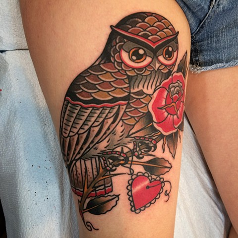 Owl with Rose Tattoo