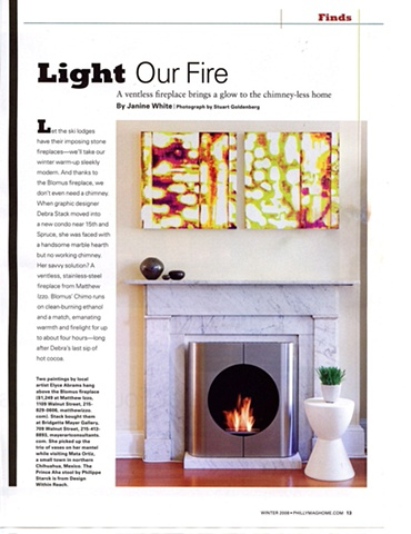 Philadelphia Home Magazine article with two paintings