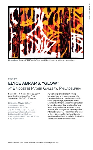 Glow, solo exhibit, Bridgette Mayer Gallery Philadelphia, PA