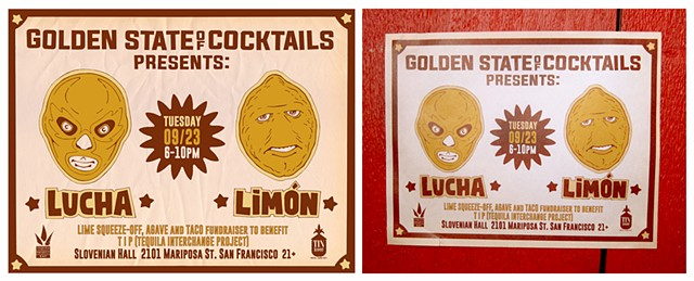 Event poster for Tin Roof Drink Community and Golden State of Cocktails.