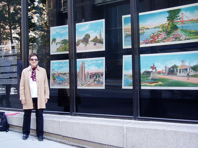 Judith G. Levy hands out user-friendly postcards from her project, Panoramic Postcards.