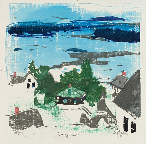 woodblock print, Maine landscape
