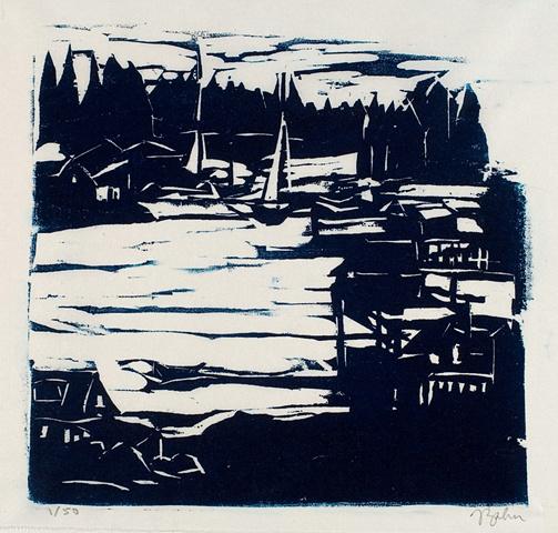 Maine landscape, woodblock print