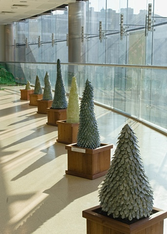 Row of topiaries