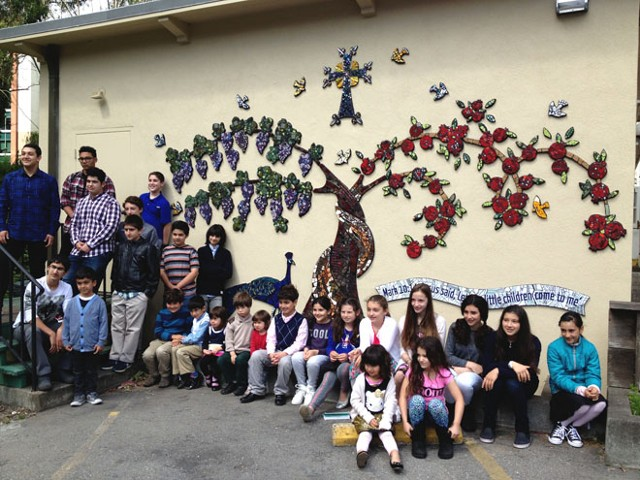 Some of the participants in front of their new mural