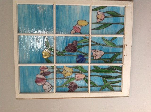 Tulips in re-used window frame