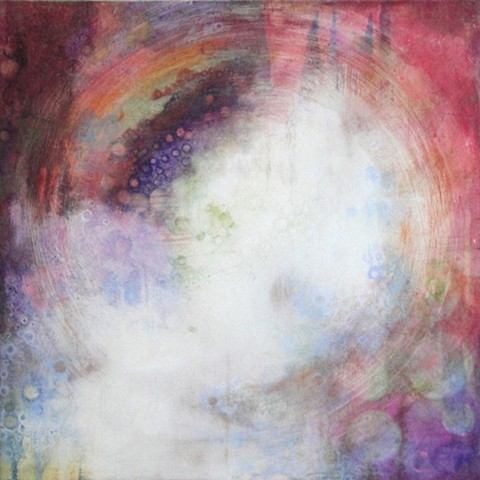 paintings of colorful passionate reds and pinks light scattered amongst flowers and fog in gardens