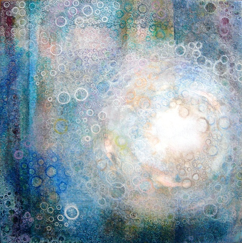 paintings of blue circles like the sky and clouds blended with the sun shining