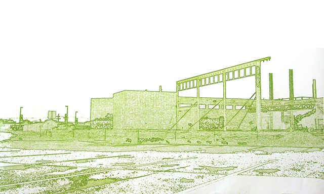 """Vision/Voice/Plan: Salina,"" Salina Art Center, Salina, Ks. 2009. South Side site drawing, KSU-Salina Rec Center."