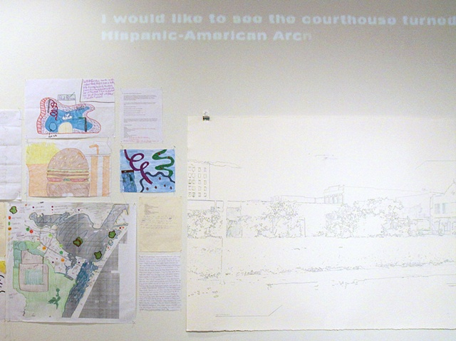 Detail, Corpitopia, drawings, projected text