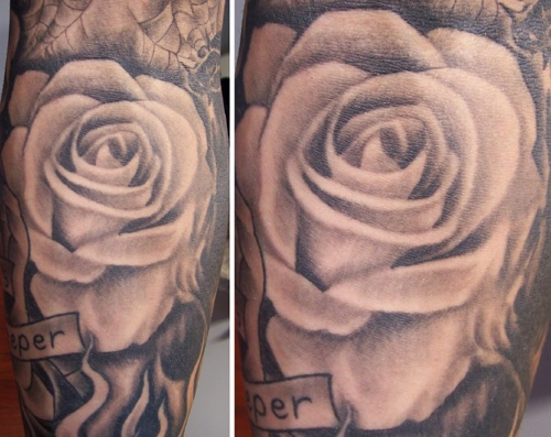 Unique ink tattoo for Black and gray rose tattoos