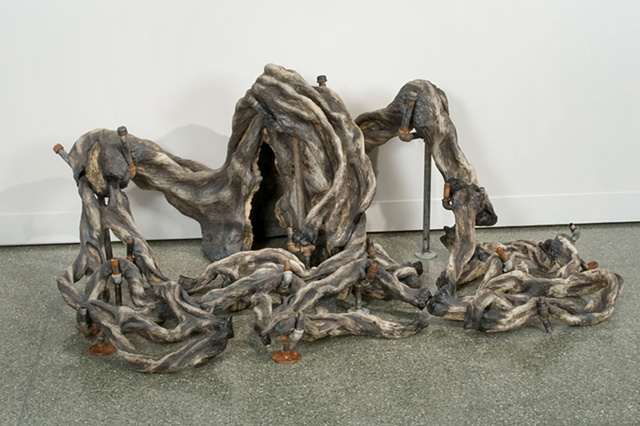 carved, twisted, trees, ceramic, sculpture, annie b campbell