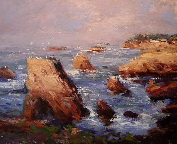 Morning light on Shell Beach California original oil painting on canvas