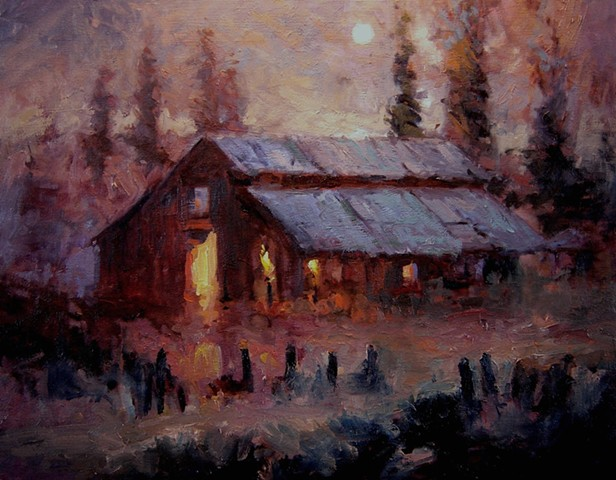 Paintings of barns Old barn in the moonlight