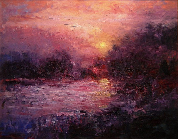 Oil painting for sale of river scene with violets, blues and reds